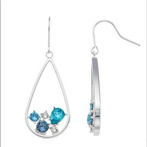 Swarovski Blue & Silver Tear Drop Dangle Earrings